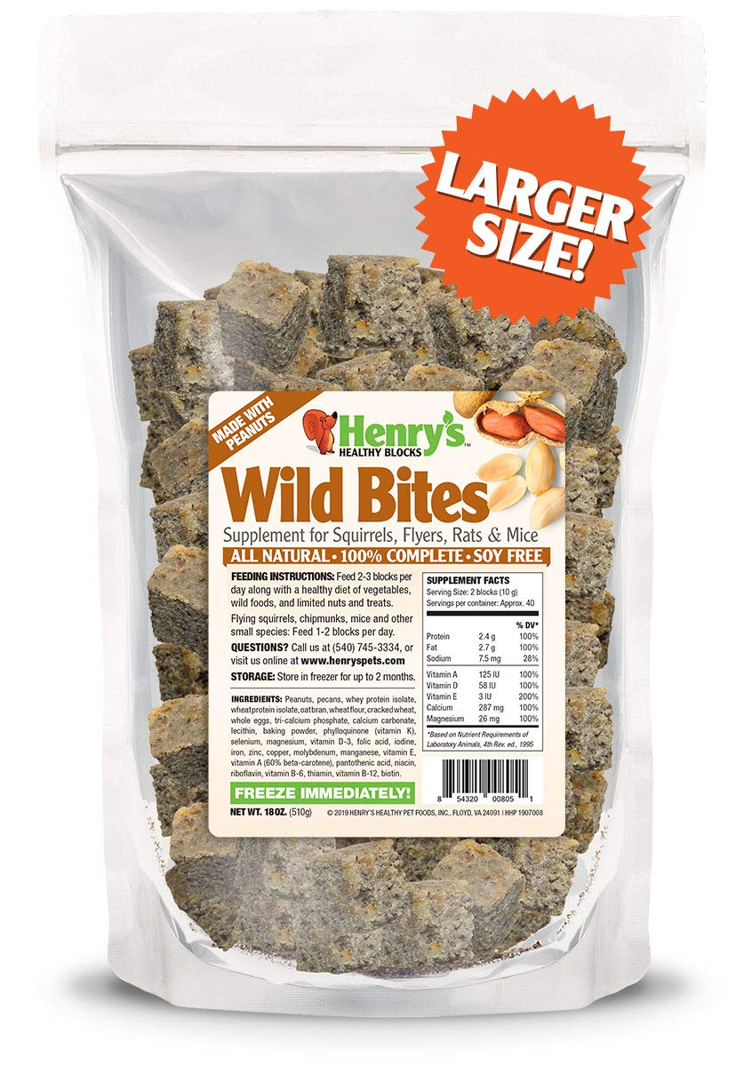 Henry's Wild Bites - The Only Food for Squirrels, Flyers, Rats and Mice Baked Fresh to Order, 18 Ounces by Henry's Healthy Pets