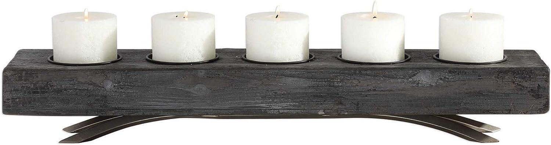 Diva At Home 木製キャンドルホルダー ブラック キャンドルカップ付き 12インチ