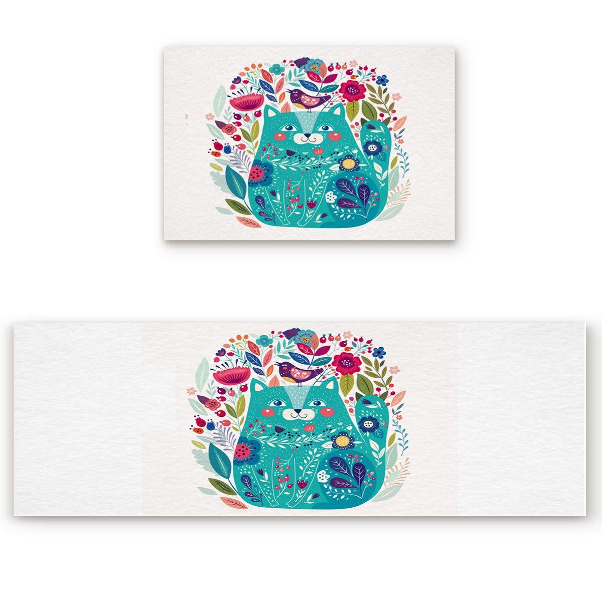 blueeflowercat1san8410 19.7\ Savannan 2 Piece Non-Slip Kitchen Bathroom Entrance Mat Absorbent Durable Floor Doormat Runner Rug Set - Floral bluee Cat Flower