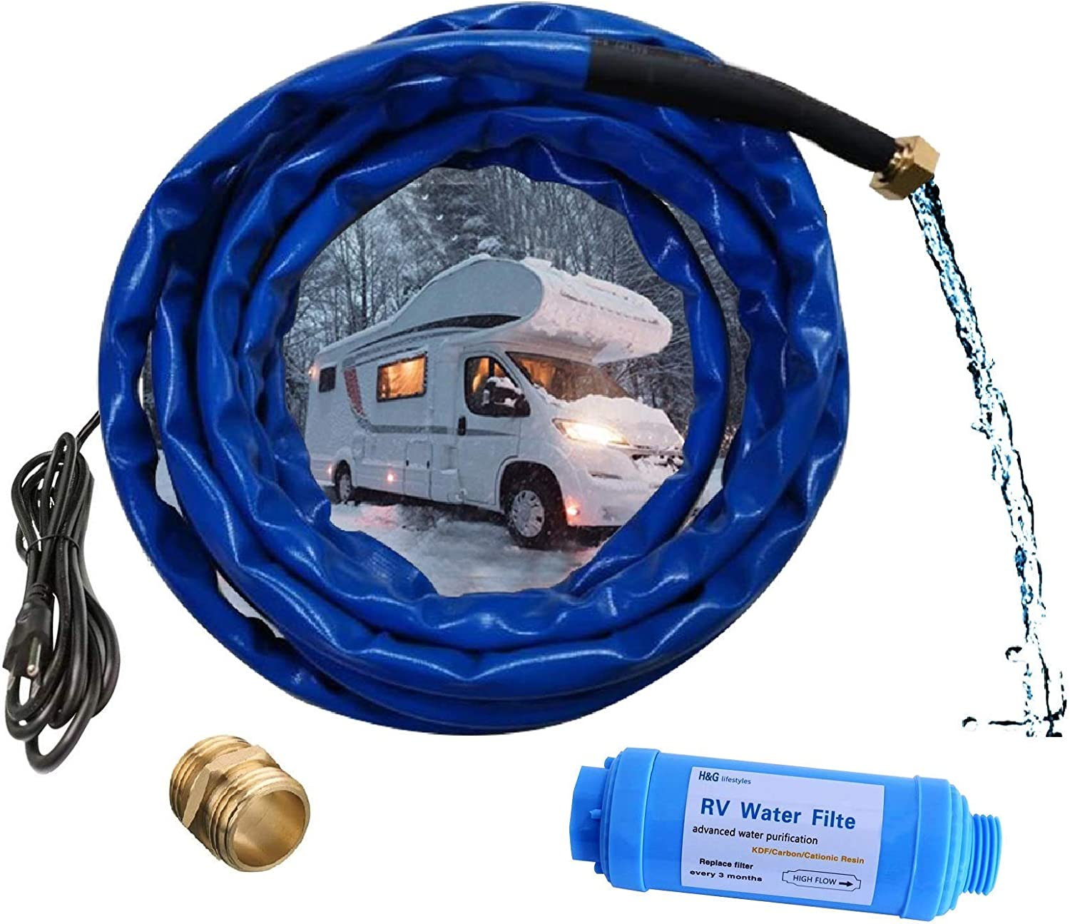 """H&G lifestyles Product Image Heated Water Hose for RV Water Filter Outdoor Furniture 1/2"""" Inner Diameter Self-Regulating Withstand Temperatures Down to -40°F 25 f"""