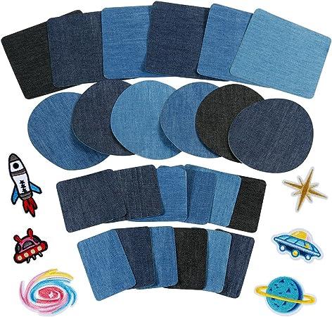 Anpro Patches zum Aufbügeln, 30 Stück Patch Sticker, Aufbügelflicken Bügelflicken Denim Patches Jeans Reparatursatz für Jeans, DIY Taschen, EINWEG