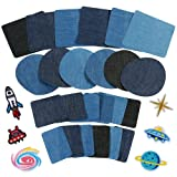 Anpro 30pcs Patchs Thermocollant,Denim Patch, Lot de patch de pièces, Patchs de décoration/rapiéçage de vêtement et sac, 3 couleurs