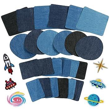 b229fb1028 Anpro 30pcs Patchs,24PCS Denim Patch Bleu Ovale en Tissu 6PCS Patch  Thermocollants, Patchs