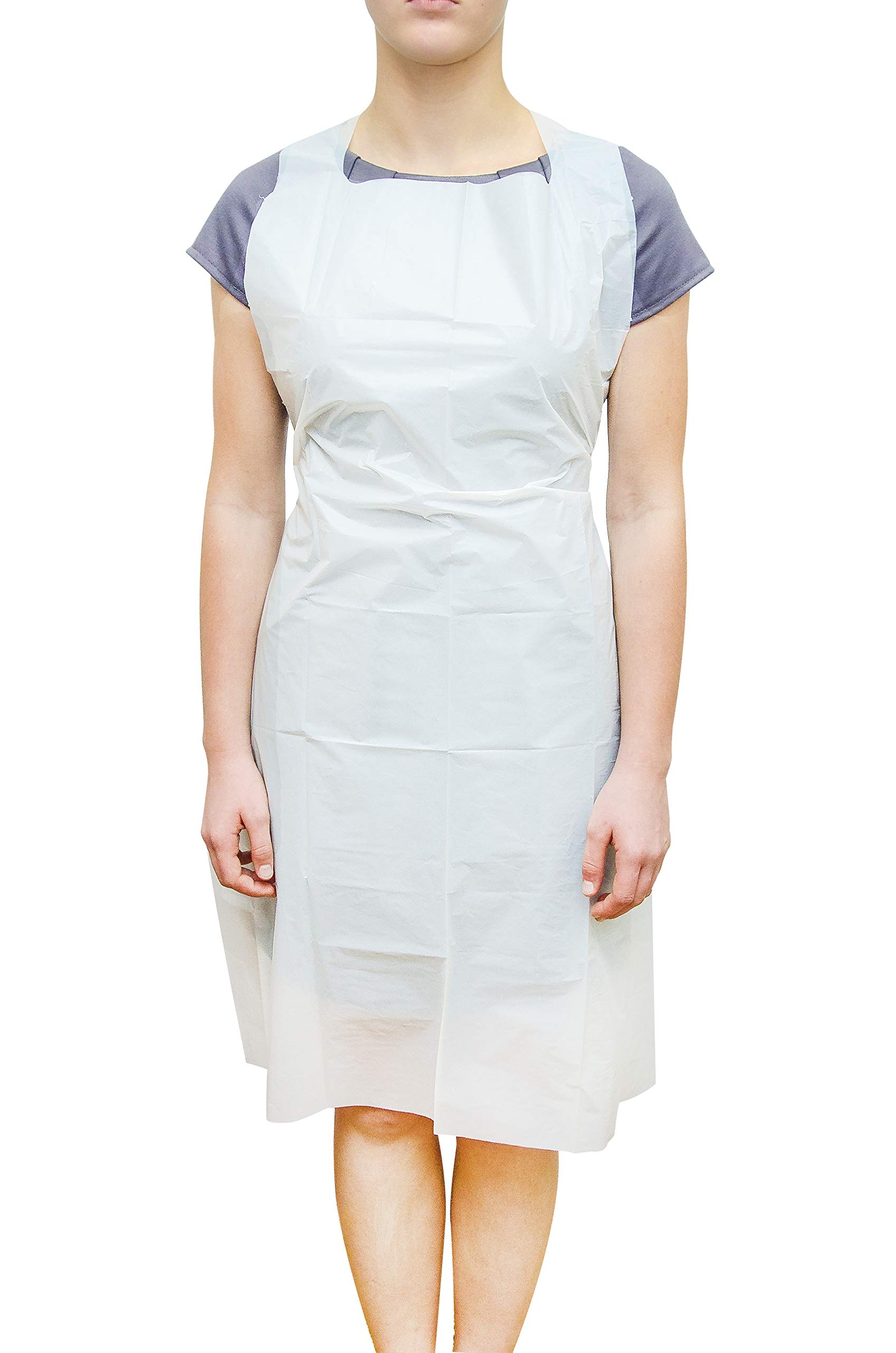 1000 Pack White PE Aprons 28 x 46 inches. 2 Mil Disposable Polyethylene Aprons. Unisex Liquid-Proof Workwear. White Protective Uniform Aprons for Men, Women. Lightweight, Breathable. Wholesale Price.