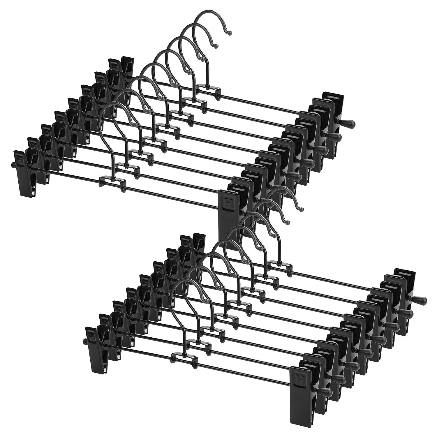 A+Selected Pack of 25 Clothes Clip Hangers Metal Trouser Skirt Hangers with Clips for Pants Coat Jeans Towels Shorts Tops - 30cm (12) Black