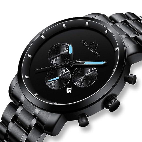 Reloj Hombre Reloj de Pulsera Impermeable Cronógrafo Deportivo de Plata  Acero Inoxidable Reloj de Hombres Fecha Lujo de Negocios de Calendario  Vestido ... 592248311b22