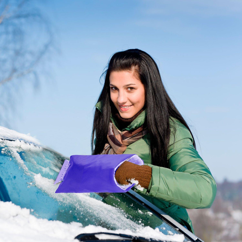 Eiskratzer mit Handschuh, Samione Auto Schneeschaufel Winter-wasserdichte warme Schnee Abbau Schaufel Handschuhe /(2 St/ü ck,Blau/)