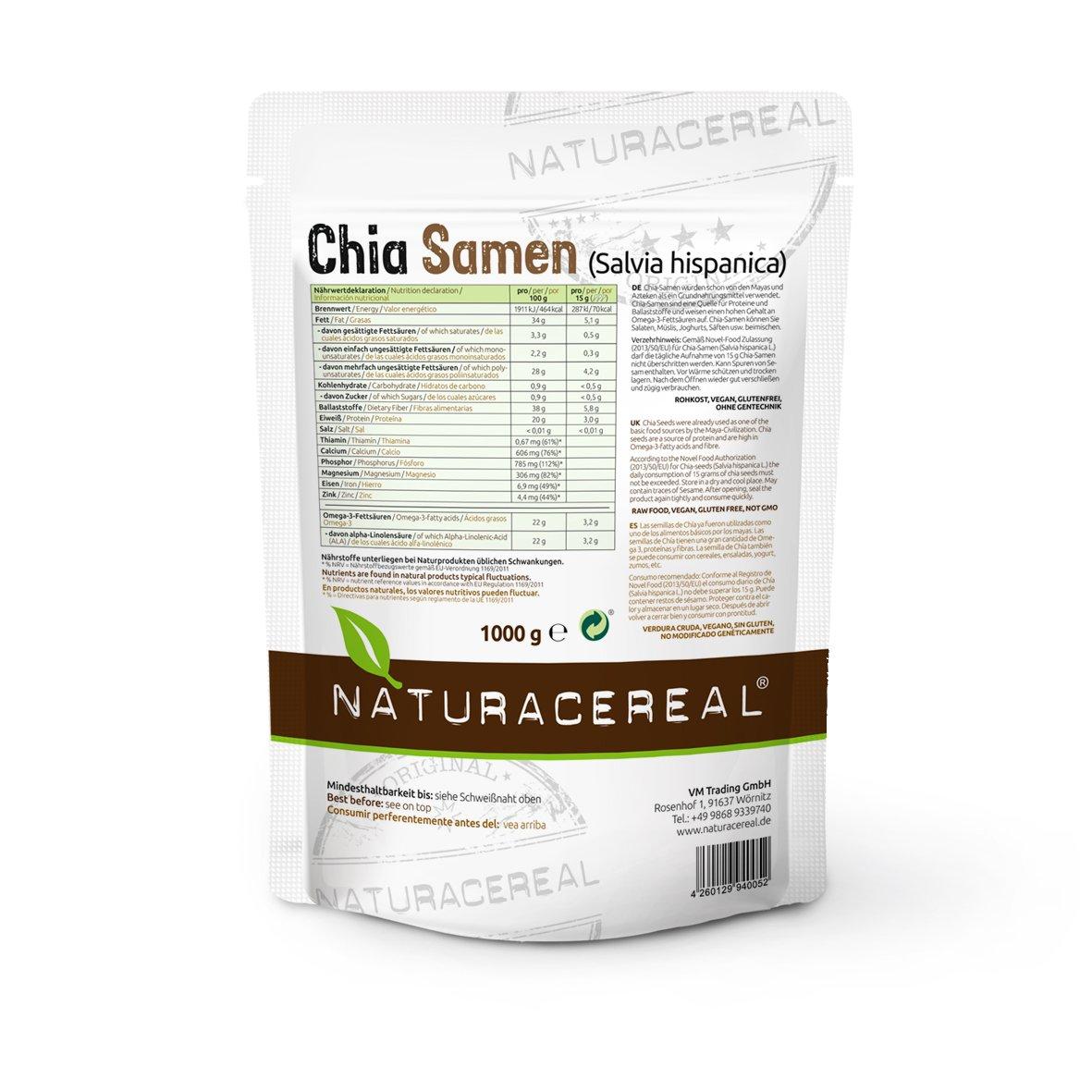 Semillas de Chia de Calidad Premium 2000g NATURACEREAL: Amazon.es: Alimentación y bebidas