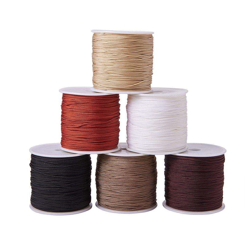 PandaHall Elite 6 Colors 0.8mm Nylon Beading String Knotting Cord, Chinese Knotting Cord Nylon Shamballa Macrame Thread Beading Cord, 6 x 100yards Spool PH PandaHall wh-NWIR-PH0001-01