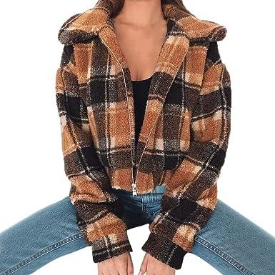 Darringls Abrigo Mujer Elegantes, Chaqueta Impresión a Cuadros Chaleco Corto SeccióN Abrigos cálido: Amazon.es: Ropa y accesorios