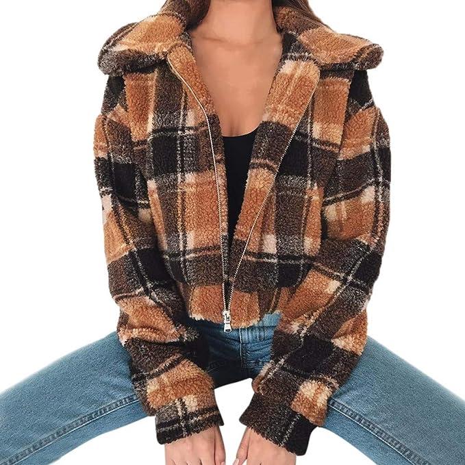 Darringls Abrigo Mujer Elegantes,Chaqueta Impresión a Cuadros Chaleco Corto SeccióN Abrigos cálido