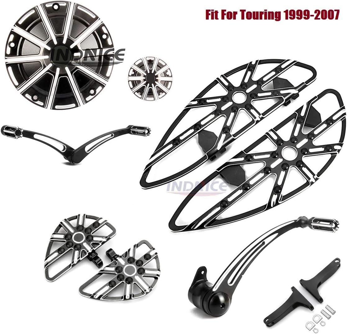 Black Gauge Rider Passenger Footboard Kit for harley Derby timer cover 04-07 Road King Custom FLHRS 2006-2007 Touring street glide FLHX