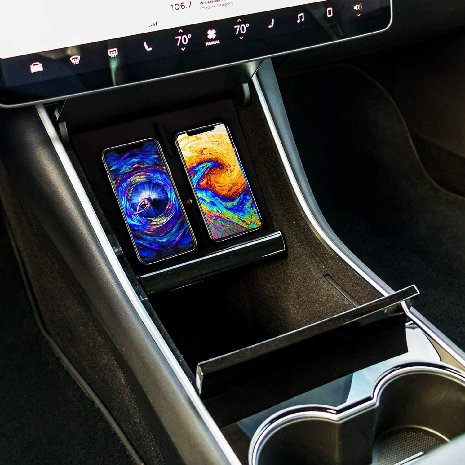 Model 3 Center Console Wireless Charging Pad Dual Phones Wireless Charging Dock for Tesla Model 3 Latest Version NYZ Tesla Model 3 Wireless Charger