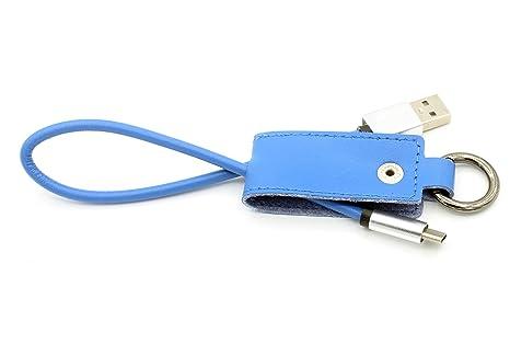 LoongGate® PU de cuero artificial Llavero Cable de carga de sincronización USB para Micro USB e interfaz de iluminación Smartphone (tipo C, azul)