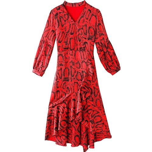 BINGQZ Casual Vestido Falda A-Line con Costuras con Cordones y ...