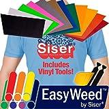 "SISER EasyWeed Heat Transfer Vinyl, 12 x 15"" 12-Color Starter BUNDLE including Vinyl Wrap Toolkit Yellow Detailer Squeegee & Felt Edges"