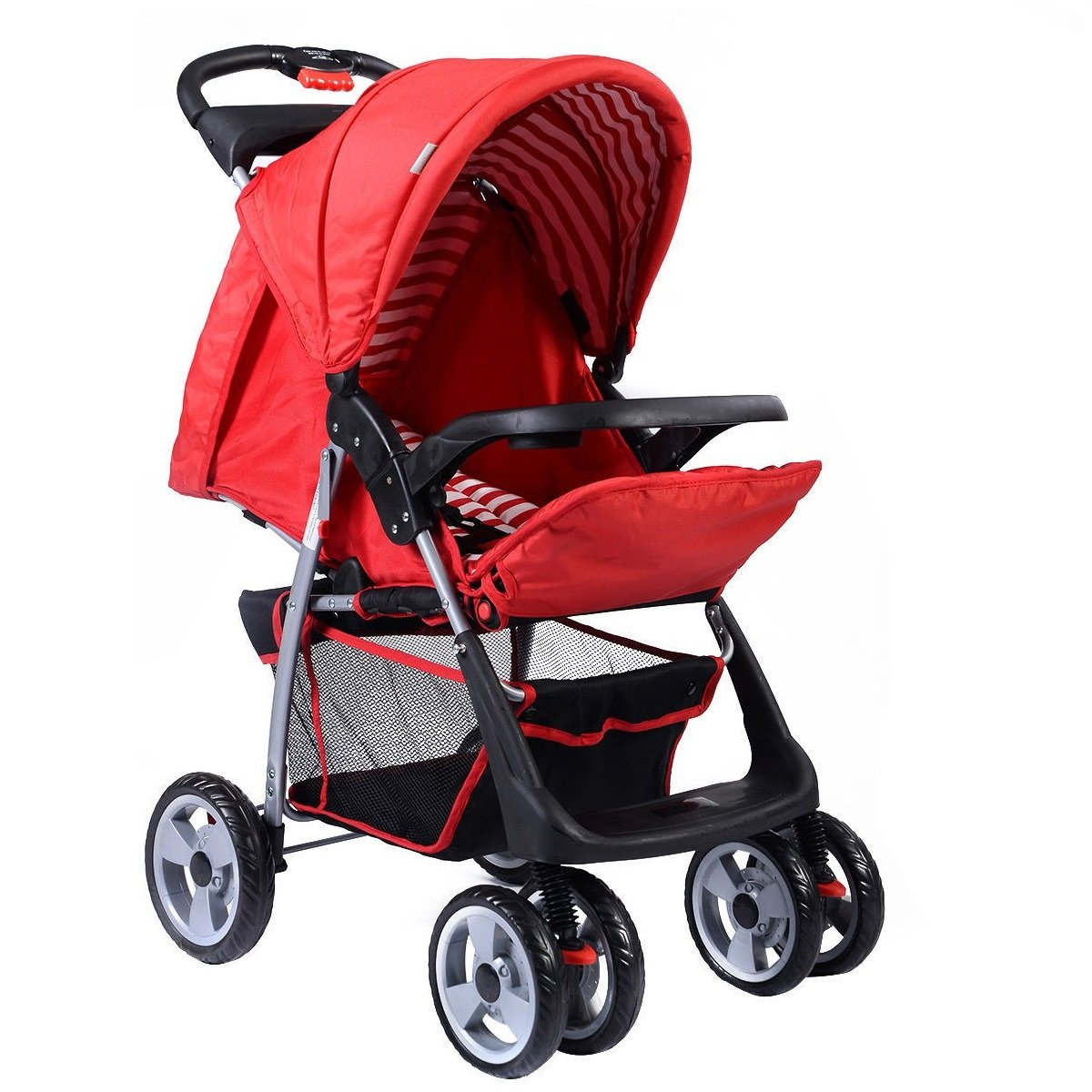 Travel Stroller Kids Foldable Heavy Duty Frame Comfortable Red Oxford MD Group