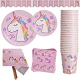 Unicorn Party Supplies Set for Girls Includes Disposable Dinner Plates, Dessert Plates, Cups, Napkins, Tablecloth…
