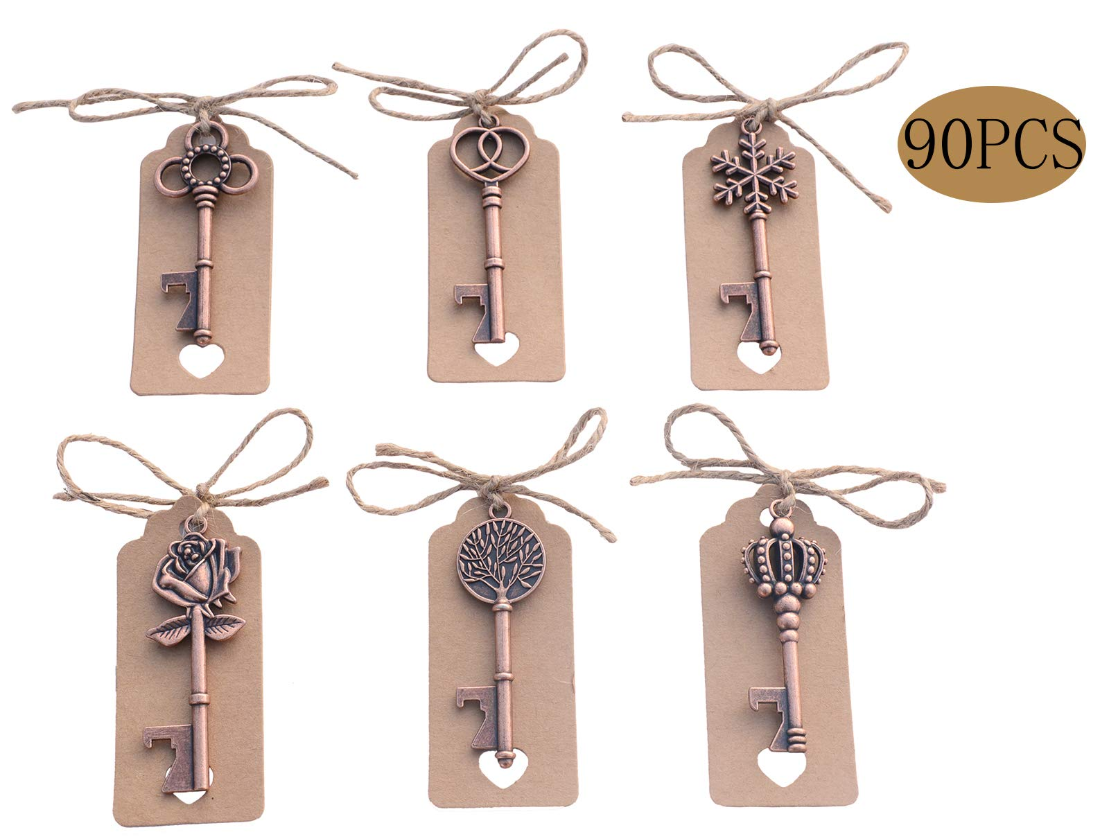 Yansanido Pack of 90 Mixed 6 Styles Skeleton Key Bottle Opener with Escort Tag Card and Twine for Wedding Favors for Guests Party Favors (90pcs mixed 6 styles Copper) by Yansanido