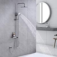 """Lonheo Columna de ducha sin grifo,Conjunto de ducha cromo con ducha de lluvia de 9"""" y 3 funciones teleducha,Sistema de…"""