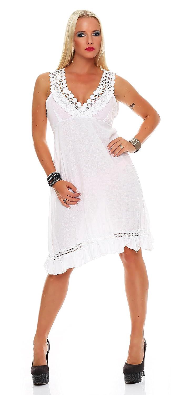 Damen Kleid Spitze Leinen-Optik knielang Trägerkleid ...