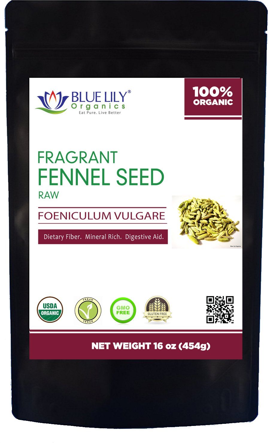 Blue Lily Organics Whole Fennel Seed - 1 Lb - Certified Organic - Non GMO, RAW, Supports Healthy Digestion, Bulk Tea Stand Up Pouch