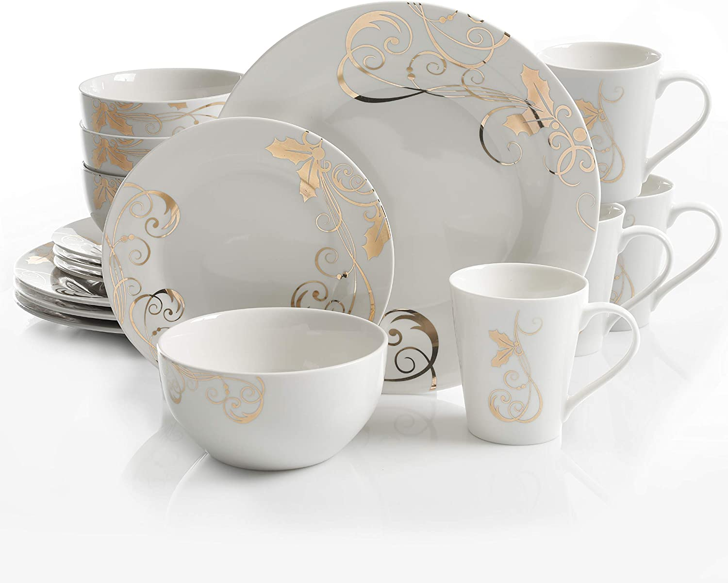 Gibson Gold 16 PC Dinnerware Set, Serving, Porcelain