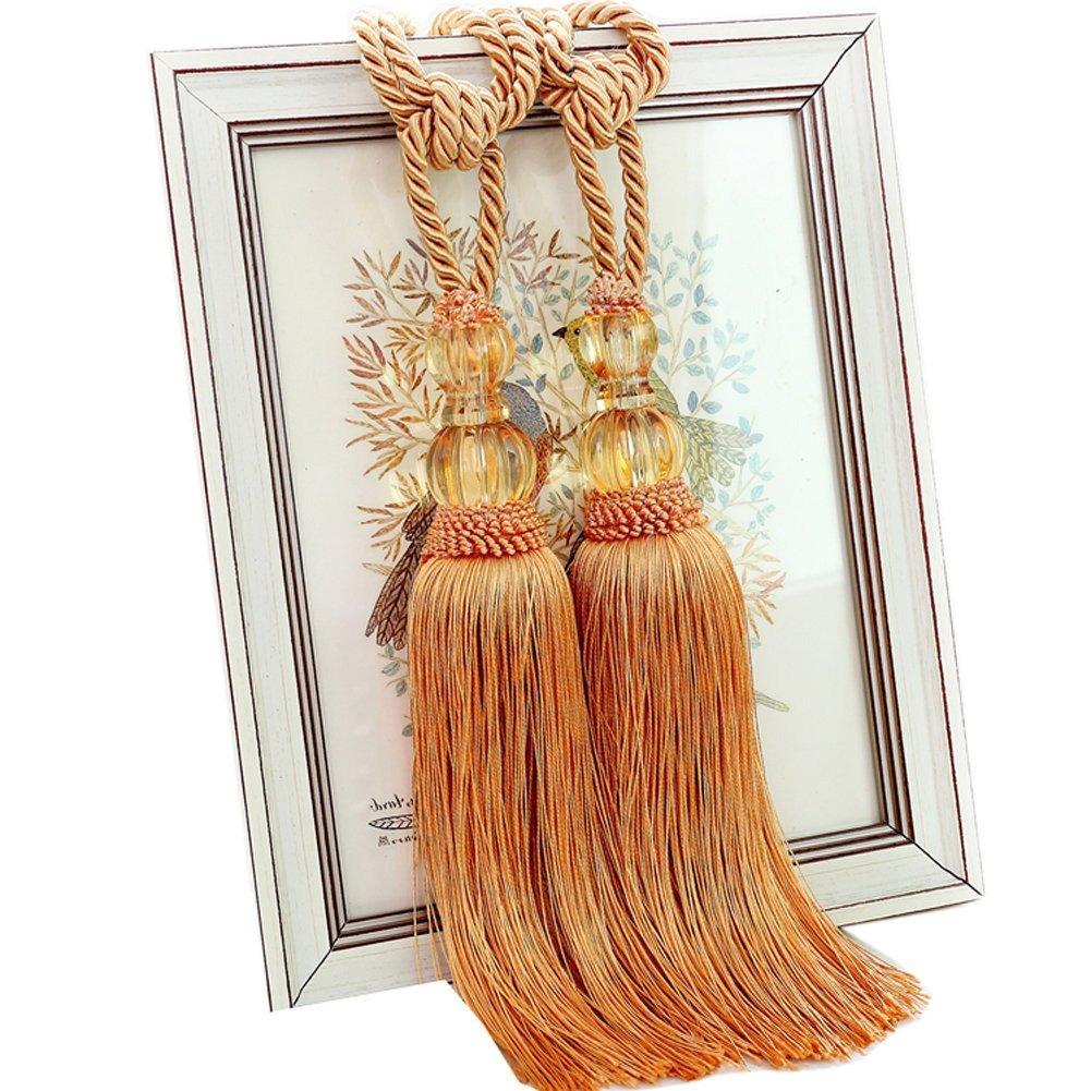 Peacock Blue EleCharm 1 Pair Crystal Beads Drapery Tassel Curtain Rope Tie Band Home Decor