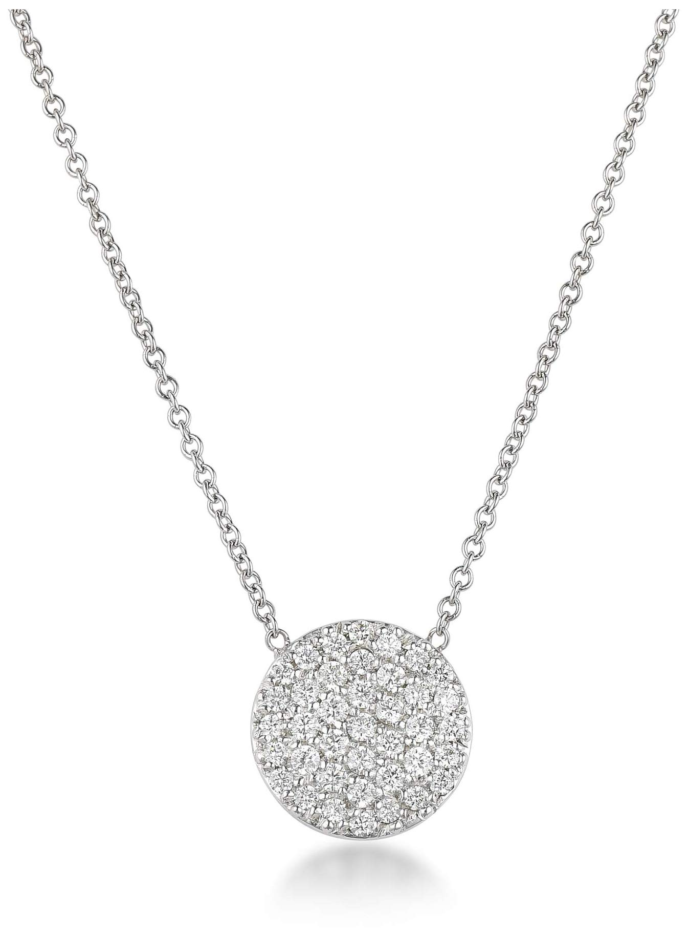 Harcourt Jewels Women's 14K White Gold 16'' Long Micropave Diamond Disc Pendant (.38 Cttw, Vs Clarity), One Size by Harrcourt Jewels