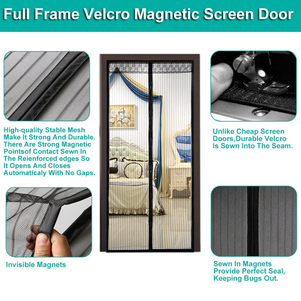 Magnetic Screen Door Mesh Mosquito Curtain Full Frame Velcro Easy To