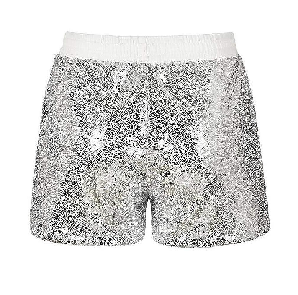 Hajotrawa Womens Casual Shiny Tie Waist Sequins Elastic Waist Shorts