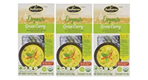 Sutharos ORGANIC Thai Green Curry Meal Kits (3 Pack) VEGAN, GLUTEN FREE, Imported from Thailand, Easy to Cook, Comes with Organic Coconut Milk, Green Curry Paste, Herbs & Spices (Green Curry)