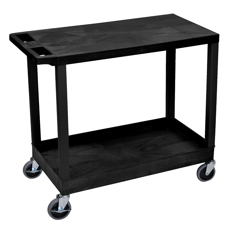 Luxor EC21 18x32 Cart with 1 Tub Shelves and 1 Flat Shelves - Black LUXEC21-B