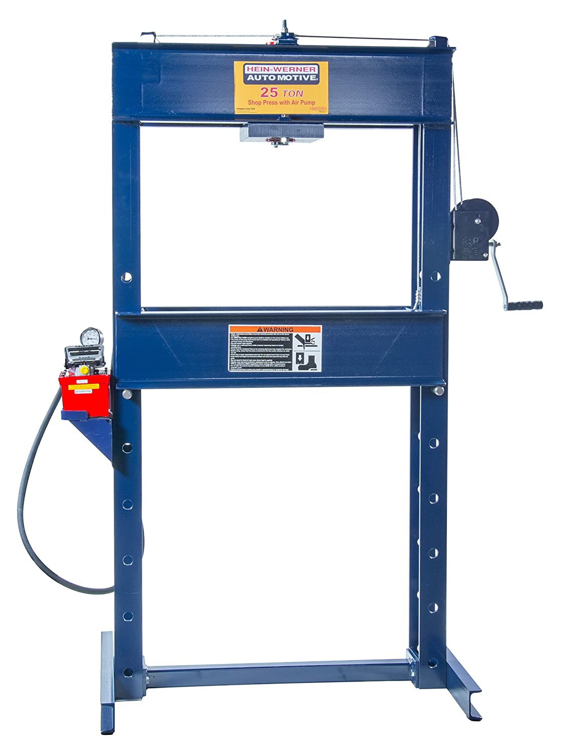 Hein-Werner HW93301 Blue 6-Inch Stroke Shop Press with Air Pump-25 Ton Capacity