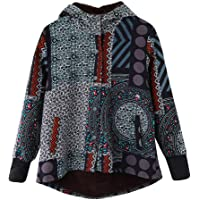 MEIbax Abrigos Mujer Invierno Abrigos para Mujer de Invierno Cálido Outwear Imprimir Abrigos con Capucha de Gran tamaño Vintage Hasp