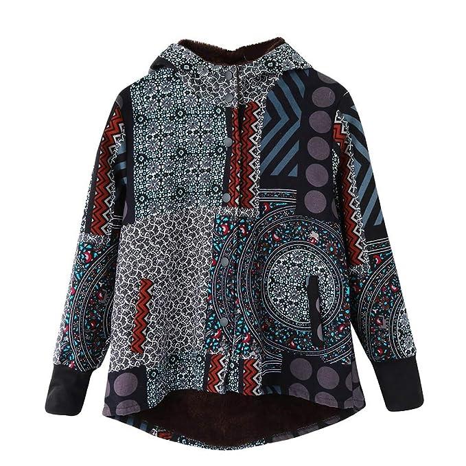 MEIbax Abrigos Mujer Invierno Abrigos para Mujer de Invierno Cálido Outwear Imprimir Abrigos con Capucha de Gran tamaño Vintage Hasp: Amazon.es: Ropa y ...
