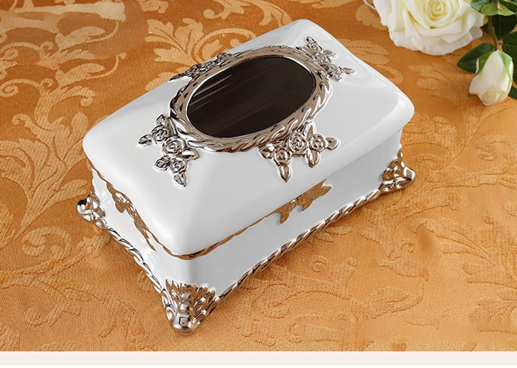 Hyun times European-style tissue box pumping tray Decoration luxury living room coffee table household ceramic grade paper box pumping Household American by Hyun times tissue box (Image #2)
