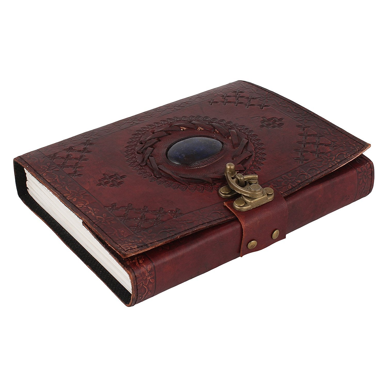 leather journals leather notebook Leather Diary Stitched & Stoned With Buckle Closure ANUENT
