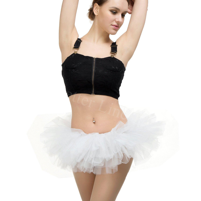 2123007b6 BETTERLINE - Tutú de ballet con 5 capas de tul – Talla única – Tamaños de  cintura 66 – 127 cm