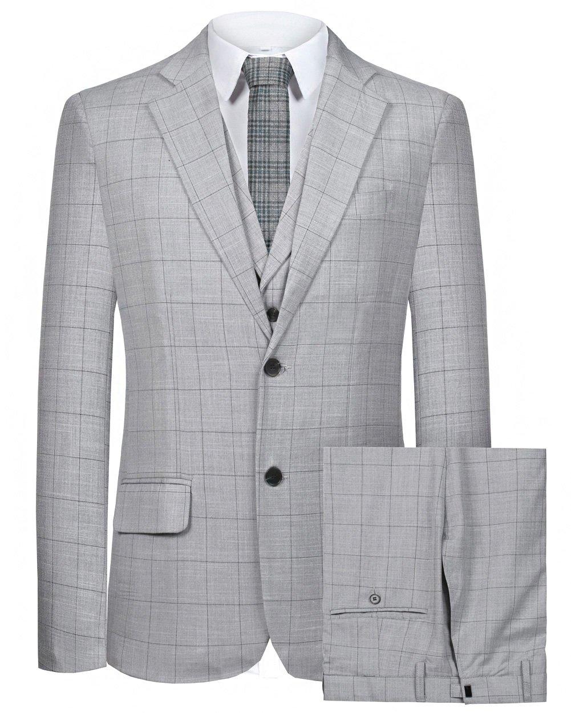 Hanayome Men's Suit 2 Buttons 3 PC Casual Grid Sport Blazer Flat Front Pants(Grey,48)