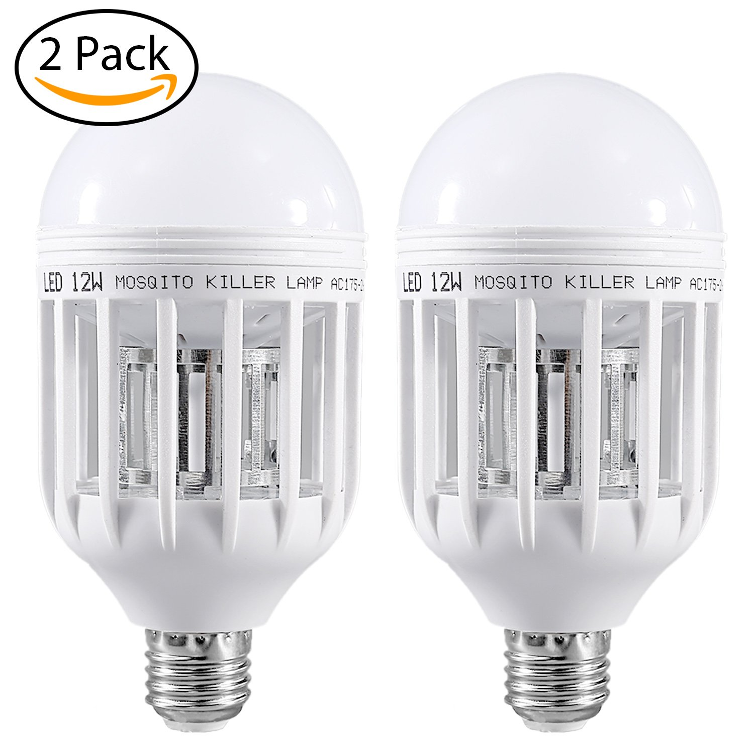 2 Pack Mosquito Killer Lamp, Bug Zapper Light Bulb, Electronic Insect Killer, Fly Killer Indoor Bug Zapper 110V E26/E27 Light Bulb Socket Base for Home Indoor Outdoor Garden Patio Backyard
