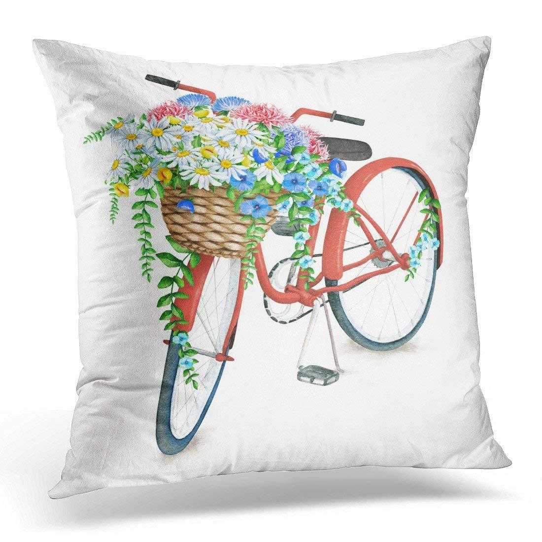 Pandarllin Funda de Almohada Azul Vintage Acuarela Rojo Bicicleta ...