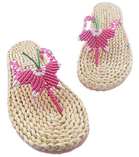 e53fdb4b1c37d2 seemehappy Women s Handmade Straw Sandals Woven Butterfly Slippers Slippers  (US ...