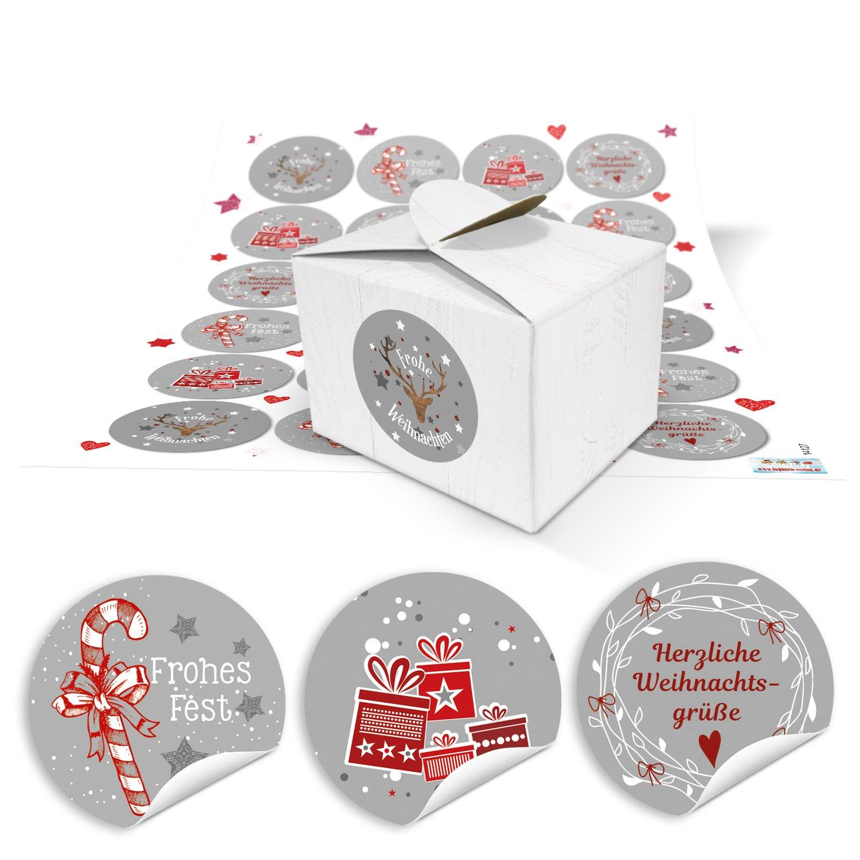 24piccoli bianchi scatole regalo scatole regalo (8X 6,5X 5,5) + 24rotonda rosso bianco grigio Sticker di Natale con biglietto natalizio di testi... Buon Natale, Buon Natale... (14127) Jeanette Dietl