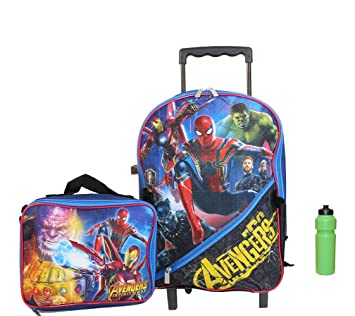 Amazon.com | Spiderman w Avenger Rolling Backpack Matching ...