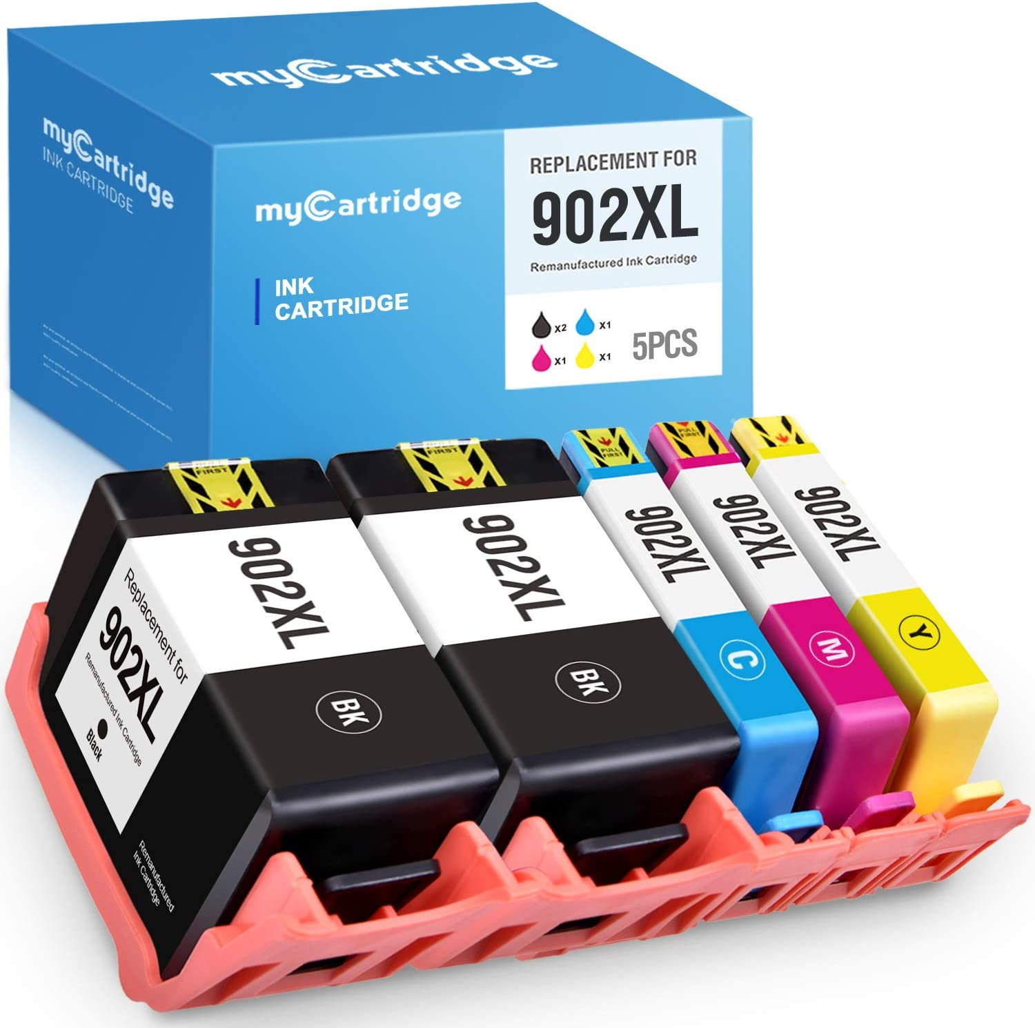 MYCARTRIDGE Remanufactured Ink Cartridge Replacement for HP 902XL 902 V8 for OfficeJet Pro 6960 6962 6970 6979 6950 6954 6975 6968 6978 6958 6971 6974 1 Set + 1 Black