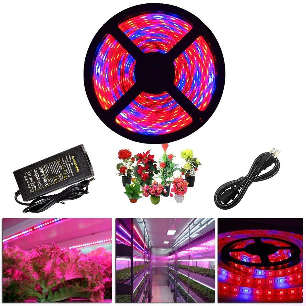ABelle LED Strip Light Plant Grow Lights 16.4ft 5050 SMD Waterproof Full Spectrum Red Blue 4:1 Growing Lamp for Aquarium Greenhouse Hydroponic Plant Garden Flowers (5 M)