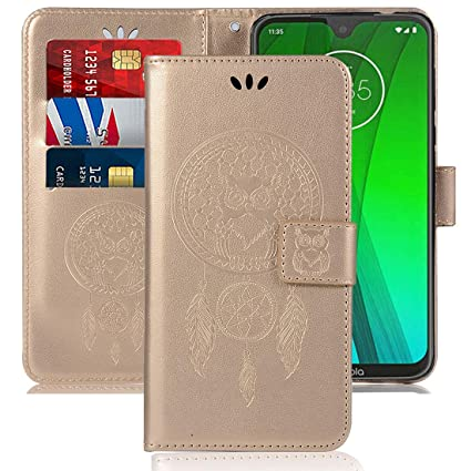 Case for Moto G7, Motorola Moto G7 Plus Case, Booceicd [Wrist Strap] Luxury  PU Leather Wallet Flip Protective Phone Case Cover with Card Slots and