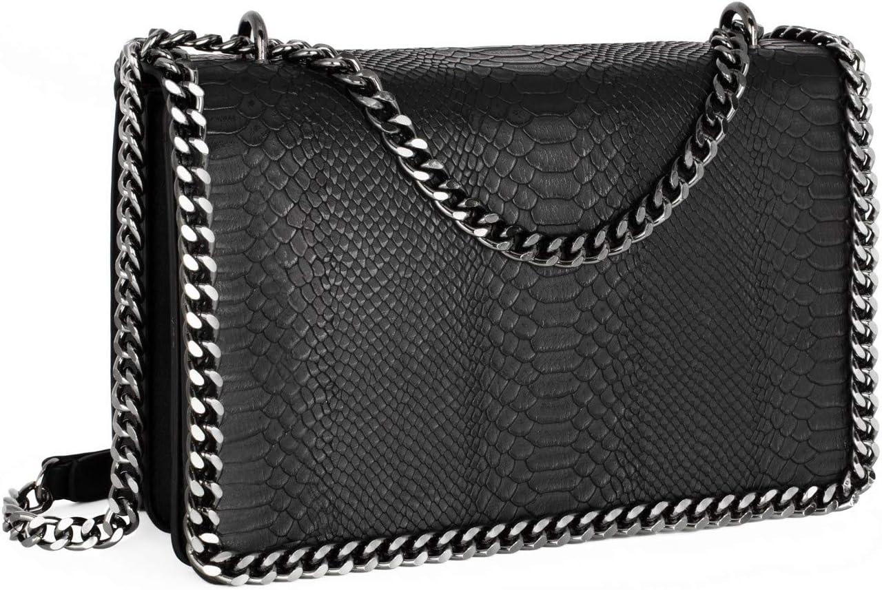 CRAZYCHIC Women's Chain Quilted Crossbody Bag Snake Skin PU Leather Shoulder Handbag Clutch Purse Black