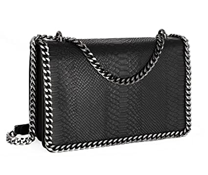 bd23b3664 Image Unavailable. Image not available for. Colour: CRAZYCHIC - Women's Chain  Quilted Crossbody Bag - Snake Skin ...